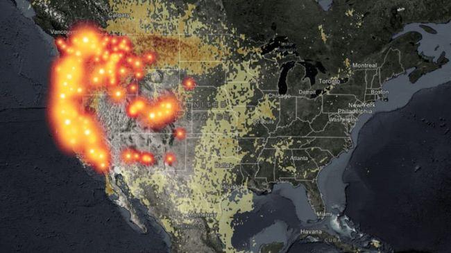 Дым отлесных пожаров назападе США достиг восточного побережья